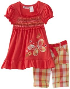 Young Hearts Toddler Girls Butterfly Embroidery Jersey with Plaid Bermuda Pant Set