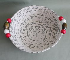 Ivory and Green Large Round Linen Fabric Coiled Basket / Bowl with Beaded Handles by PrairieThreads