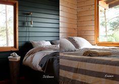 Domargård - Villa Olivia -bloggaaja maalasi makuuhuoneen mökillä Syvänne-sävyllä. Kaunis pinta saatiin Tikkurilan Harmony-maalilla.