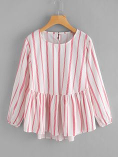 SheIn offers Striped Frill Dip Hem Blouse & more to fit your fashionable needs. Girls Fashion Clothes, Teen Fashion Outfits, Girl Fashion, Girl Outfits, Fashion Dresses, Clothes For Women, Stylish Dresses For Girls, Cute Dresses, Casual Dresses