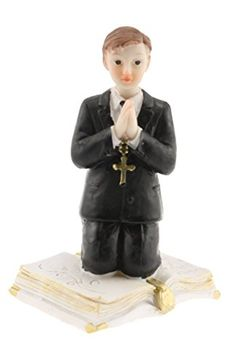 Communion Kneeling Praying Boy on a Bible Statue Cake Top Black Suit 45 Tall *** Details can be found by clicking on the image.