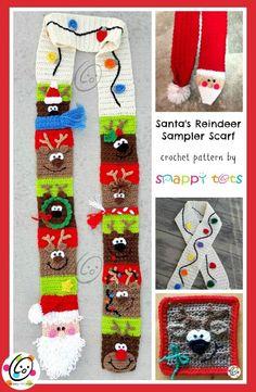 santas reindeer sampler scarf crochet pattern