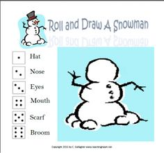 TWO free roll game printables.  Each one is a little different. One is Turkey themed and asks the student to put together a Turkey and the other is Snowman themed and asks the student to draw the missing parts of the snowman.