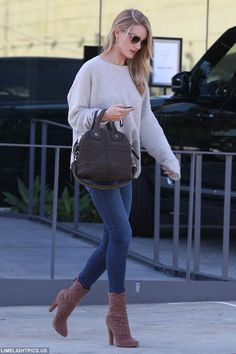 Rosie Huntington-Whiteley Out in Los Angeles October 27 2014 | Star Style - Celebrity Fashion | Rosie Huntington-Whiteley wearing Givenchy Nightingale Micro Satchel Bag, Oliver Peoples Shaelie Sunglasses, Anita Ko ,Zadig & Voltaire Markus Sweater in Snow, Alaia Ankle Boot and Paige Denim Hoxton Transcend High-Rise Skinny Jeans in Armstrong
