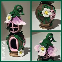 Polymer clay fairy house made from tutorial on YouTube by sandrartes ~ ThatBarbGirl