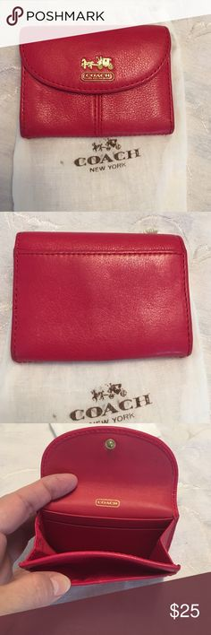Coach card holder Small Coach credit card wallet. Beautiful persimmon colored soft leather. It's in excellent condition. Smoke free home. No trades. Coach Bags Wallets