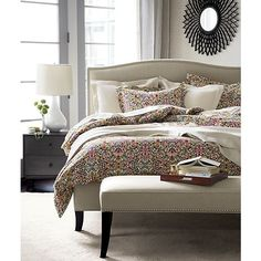 Colette California King Bed in Beds, Headboards | Crate and Barrel +nailhead trim and stocked in neutral linen $1999