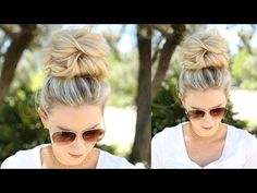 Hair styles easy messy bun tutorials 31 ideas for 2019 Cute Messy Buns, Perfect Messy Bun, Thin Hair Messy Bun, Buns For Long Hair, How To Make Messy Bun, Messy Bun Updo, Messy Top Knots, Braided Buns, Braided Hair