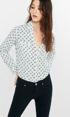 original fit horseshoe print portofino shirt from EXPRESS