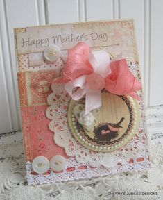shabby chic lovely HAPPY MOTHERS day mama bird and nest stitched handmade card