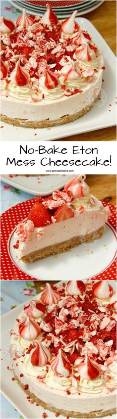 ❤️ A Creamy, Sweet and Delicious No-Bake Eton Mess Cheesecake with Fresh Strawberries, Home Made Meringues, and oodles of Cheesecake Goodness!No-Bake Eton Mess Cheesecake! ❤️ A Creamy, Sweet and Delicious No-Bake Eton Mess Cheesecake No Bake Desserts, Delicious Desserts, Dessert Recipes, Yummy Food, Dinner Party Desserts, Janes Patisserie, Masterchef, Gateaux Cake, Food Cakes