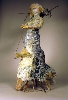Bridgette Guerzon Mills | The Gatherer, 2010 | encaustic mixed media (including: thrift store Barbie, plaster cloth, encaustic, driftwood, twigs, dried fern and other miscellaneous bits)  /sm