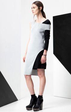 Chalk grey + black layer color-block futuristic short dress ADEAM Resort 2015 #Cruise2015 #fashion