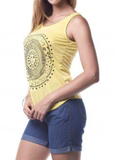 WEBNODE :: Yellow Round Neck Sun Print Tank Top :: Fashionerly Printed Tank Tops, Print Tank, Sun, Yellow, Women, Fashion, Spring Fashion, Spring Summer, Chic