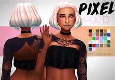 "DOWNLOAD PIXEL HAIR (DROPBOX)"" "" • maxis match • base game • +Rustys ombres • hat compatible • tested in game • enabled for male and female • custom thumbnail • no issues i could find message if any :) • all lods TOU:  if you recolour and retexture..."