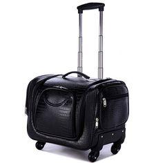141.35$  Watch here  - Professional Large multi-layer cosmetics box,universal wheels trolley luggage travel bag bride bag,crocodile pattern,leopard bag