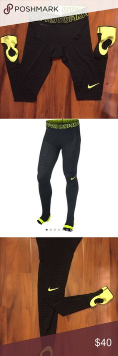 Nike Pro Combat Recovery Hypertight Nike Pro Combat Recovery Hypertight - Black/Volt  Size M (very right fit!!)  SKU586233-010-NIKE Durable Nike Power Grid design for a graduated, compressive fit Dri-FIT fabric helps keep you dry and comfortable Foot stirrup to ensure a secure fit Ultra-lightweight, breathable fabric with mesh lining for ventilation Wide stretch waist for support and a snug fit Flatlock seams move smoothly against the skin PRODUCT DETAILS Fabric: Dri-FIT 80% polyester/20%…
