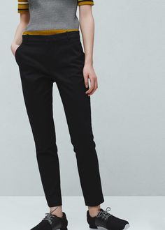 MANGO Cotton pants with straight leg in black