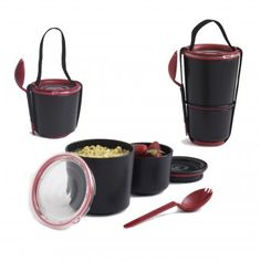 Two pots with an ingenious watertight seal. Separate your yoghurt and muesli or noodles and fruit salad - Lunch Pot is the perfect vessel for carrying your breakfast or lunch to work. The smaller pot . Best Meal Prep Containers, Lunch Containers, Lunch Boxes, Storage Containers, Design Shop, Pots, Design3000, Bento Box, Tupperware
