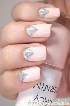 Black dress nails, Evening nails, Fashion nails trends 2016, Feminine nails, Gentle nails 2016, Gentle pink nails, Gentle shellac nails, Glitter nails
