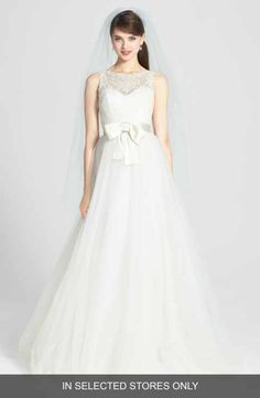 Amsale 'Quinn' French Lace Illusion Bodice Tulle Wedding Dress (In Stores Only)