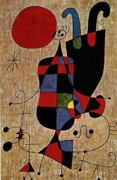 Joan Miró ~ Figures and Dog in Front of the Sun, 1949
