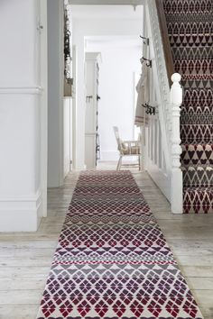 Alternative Flooring's Quirky B Margo Selby Fair Isle Reiko Carpet. The warm, rich tones of the Quirky B Margo Selby Fair Isle Reiko Carpet make it perfect for the bedroom, lounge, dining room, stairs or home office. Striped Carpets, Patterned Carpet, Alternative Flooring, Carpet Samples, Geometric Shapes, Stairs, Lounge, Warm, Collaboration