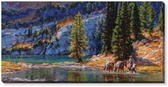 Riding Through the Lake Wrapped Canvas Art - American Expedition
