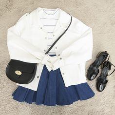 Cute outfits with white shirt and blue skirt from korean Korean Street Fashion, Korea Fashion, Asian Fashion, Look Fashion, Daily Fashion, Girl Fashion, Fashion Outfits, Womens Fashion, White Shirt Outfits