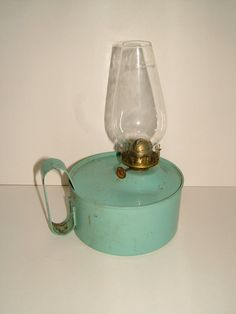 1950s Vintage Oil Lamp / Kerosene Lamp with Glass by BiminiCricket, $55.00