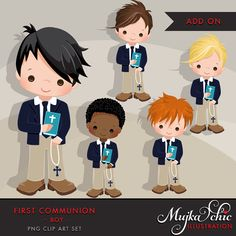 My first Communion Clipart for Boys Add On. Cute Communion characters, graphics, blue and khaki clothing.