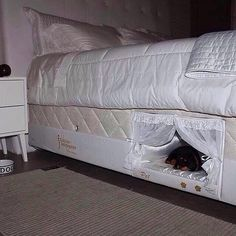 Aw! A custom spot in the frame of your bed for your dog!