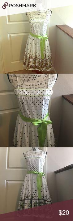 White cotton sundress with ribbon belt Adorable white cotton dress with ribbon belt and zipper closure! Body Central Dresses
