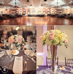 silver decor, hydrangea arrangement, roses, natural greenery #fleurtaciousdesigns - Elario Photography