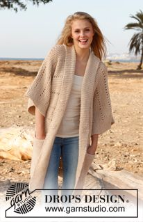 Free knitting patterns and crochet patterns by DROPS Design Crochet Jacket, Knit Jacket, Knit Crochet, Knitting Patterns Free, Knit Patterns, Free Knitting, Free Pattern, Point Mousse, Knitted Coat