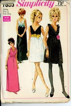 Evening Cocktail Dress Vintage Pattern Simplicity 7855 Junior Ruffled Neck Empire Waist Dress Womens Vintage Sewing Pattern ~ for older girls or very young, slim women Vintage Dress Patterns, Clothing Patterns, Vintage Dresses, Vintage Outfits, Motif Vintage, 1960s Fashion, Vintage Fashion, Style Année 60, Patron Vintage