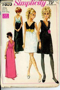 Evening Cocktail Dress Vintage Pattern Simplicity 7855 Junior 1960s Ruffled Neck Empire Waist Dress Womens Vintage Sewing Pattern