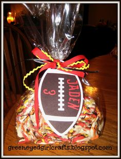 Jaden is Kendra& (my daughter-in-law) youngest brother and he plays football for the Logan High Grizzlies! We were making Halloween. Football Goody Bags, Football Treats, Football Spirit, Football Cheer, Youth Football, Football Season, Flag Football, Goodie Bags, Favor Bags