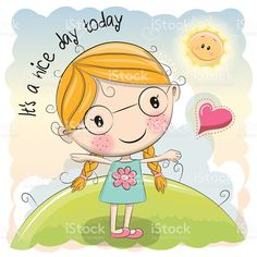 Illustration about Cute Cartoon Girl and sun on a meadow. Illustration of girl, background, design - 75673974 Cartoon Cartoon, Cute Cartoon Girl, Cute Clipart, Stick Figures, Cute Illustration, Cute Stickers, Cute Drawings, Good Day, Cute Art