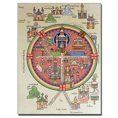 Map of Jerusalem and Palestine Graphic Art on Canvas