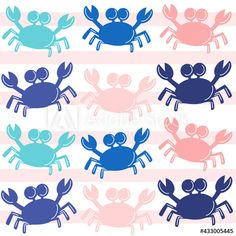 cute summertime seamless vector pattern background illustration with colorful crabs by Alice Vacca Pattern Background, Crabs, Cute Pattern, Vector Pattern, Graphic Design Illustration, Summertime, Alice, Colorful, Image