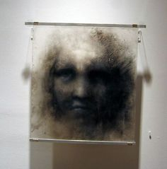 Reiko Fujinami. For her drawings on Mylar film, Fujinami first applies dry pigment to one side of the film to create the image. Once the image is fixed, she uses a combination of gesso, acrylic paint, charcoal, pastel, pencil and dry pigment to the reverse, creating the complex, layered images that emerge in each piece.