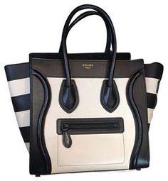 Céline | Micro Luggage Limited Edition All Black Hardware Striped Black And White Black/white Tote Bag