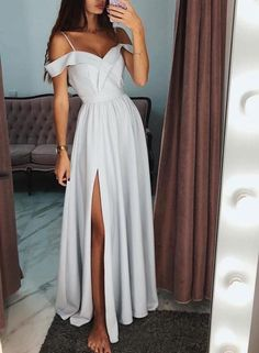 A-Line Off The Shoulder Gray Long Prom Dress With Side Split A-Linie Schulterfrei Grau Langes Abendkleid Mit Seitenspalt The post A-Linie Schulterfrei Grau Langes Abendkleid Mit Seitenspalt & Clothes. appeared first on Prom dresses . Grad Dresses, Cheap Prom Dresses, Homecoming Dresses, Sexy Dresses, Evening Dresses, Long Dresses, Summer Dresses, Wedding Dresses, Party Dresses