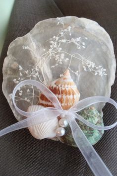 Shell Boutonniere/Corsage by bellamariacreations on Etsy, $14.50