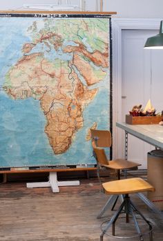 Old scool map, green bankers pendant & vintage stools