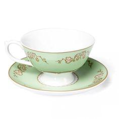 Green Regency Teacup And Saucer | DotComGiftShop