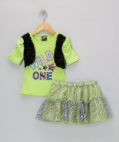 Take a look at this Lime 'Wild One' Top & Zebra Skirt - Infant, Toddler & Girls by 2B Real on #zulily today!
