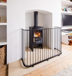 Fireguards - Fire Guards for stoves - Traditional Fireguards UK - Contemporary Fire Guards - Bespoke Fireguards - Fire Guard for Wood Burning Stove Metal Trellis Panels, Door Canopy Porch, Porch Awning, Front Porch, Door Canopy Designs, Fireplace Guard, Cover Wood Paneling, Light Wood Cabinets, Wood Floor Texture