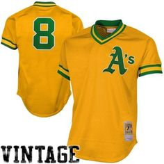 Mitchell & Ness Copperstown Collection Joe Morgan Oakland Athletics #8 1984 Authentic Throwback Mesh Batting Practice Jersey - Gold